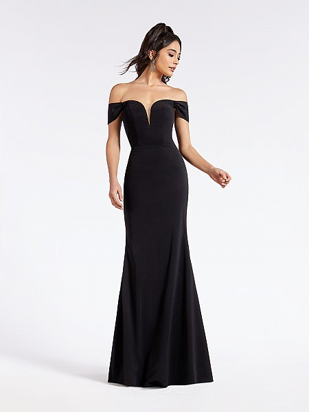 Black floor length formal gown with off-the-shoulder straps and illusion sweetheart neckline