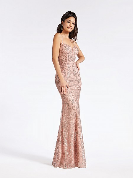 Glitter print formal dusty pink long dress with sweetheart neckline and natural waistline
