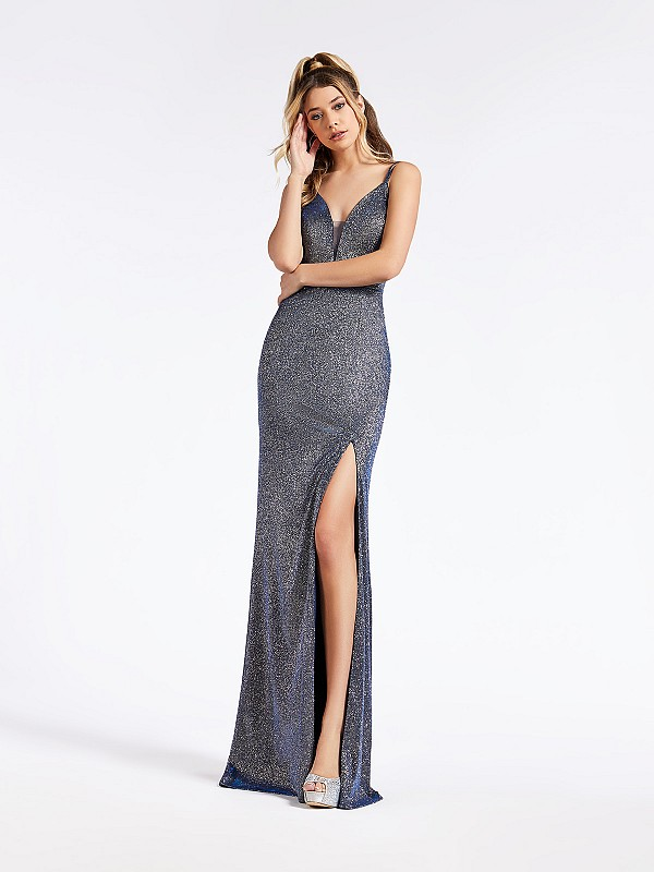 Long metallic mikado navy formal dress with deep sweetheart neckline and  illusion inset