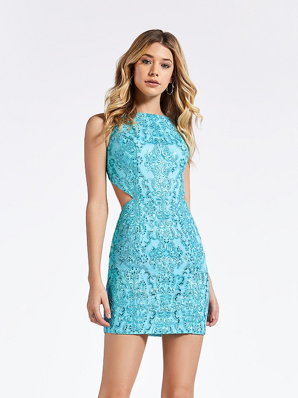 Sleeveless short turquoise semi-formal dress with re-embroidered lace fabric and beading
