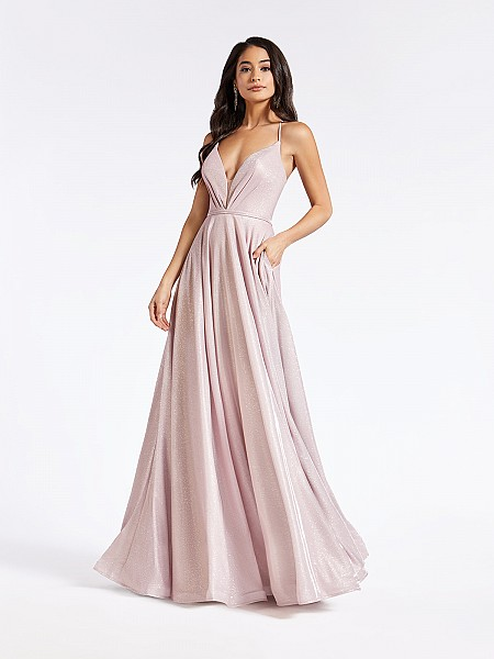 Floor length formal dusty pink A-line dress with plunging sweetheart neckline with inset