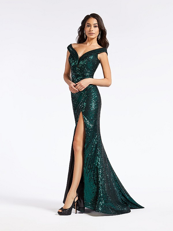 Long sequin emerald mermaid formal dress with off the shoulder neckline and illusion inset
