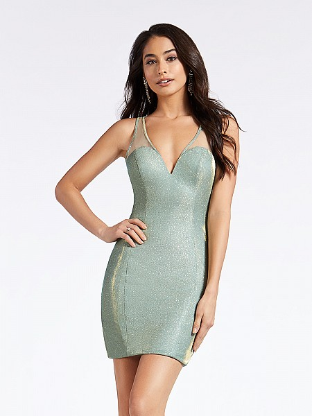 Fitted short sparkly mint colored party dress with sweetheart neck and illusion straps