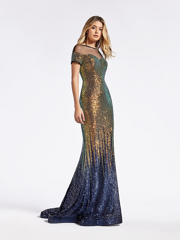 Long sequin short sleeveformal gold and navy dress with illusion bateau bodice