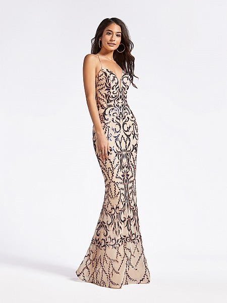 Long embroidered sequin purple and nude mermaid dress with deep sweetheart neckline