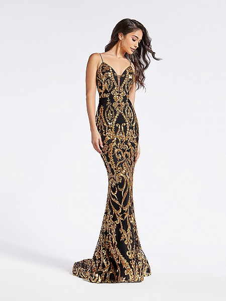 Elegant embroidered sequin long formal gold and black mermaid dress with plunging neckline
