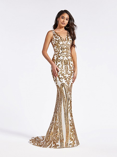 Gold and white mermaid floor length formal gown with v-neckline with inset and sequins
