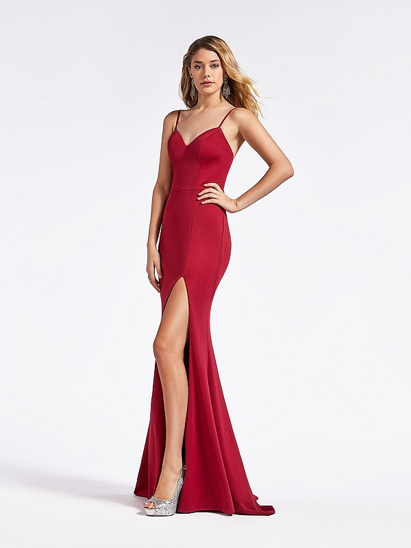 Simple jersey floor length fitted wine colored  formal gown with sweetheart neckline and slit