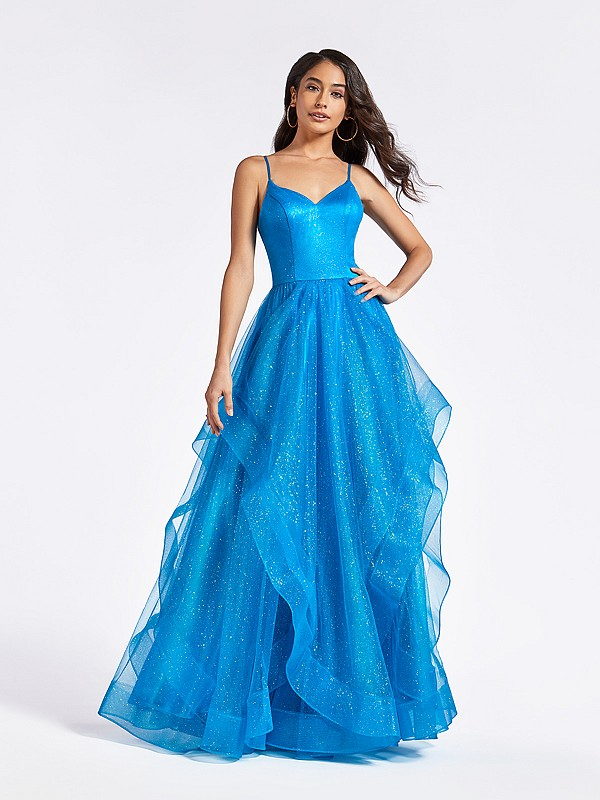 Princess style A-line with cascades turquoise prom dress with sparkle and sweetheart neckline