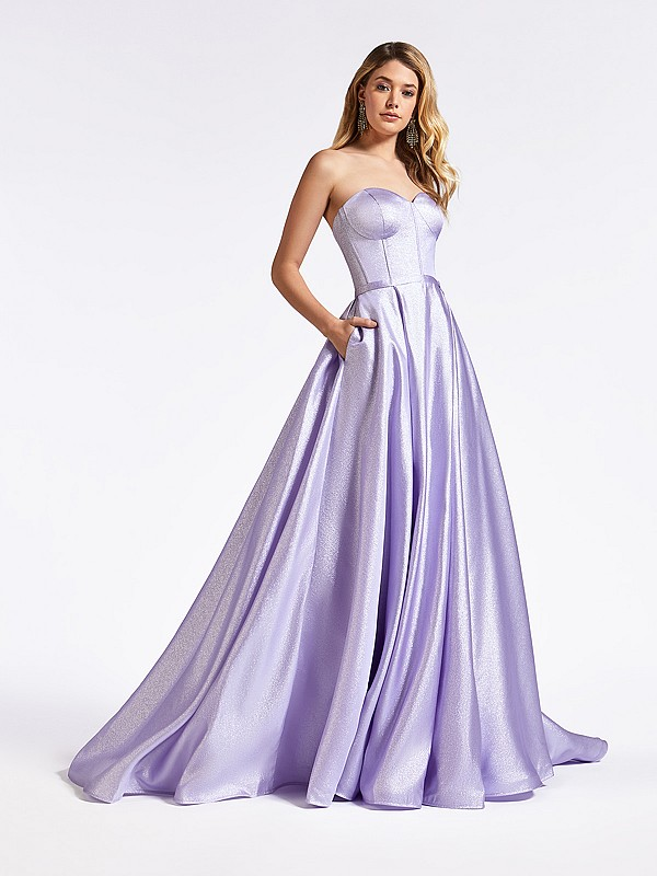 Fairytale inspired strapless lilac formal gown with sparkling corset bodice and pockets at skirt