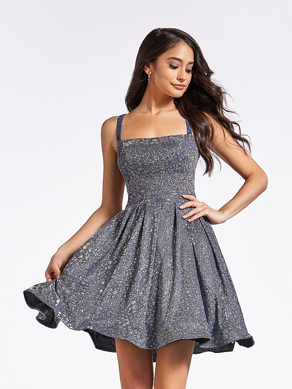 Mini shiny metallic print purple semi-formal cocktail a-line dress with square neckline