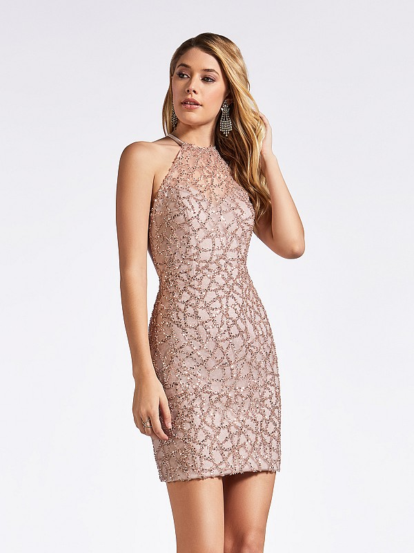 Thigh length fitted sequin and beaded dusty pink cocktail dress with illusion halter neck