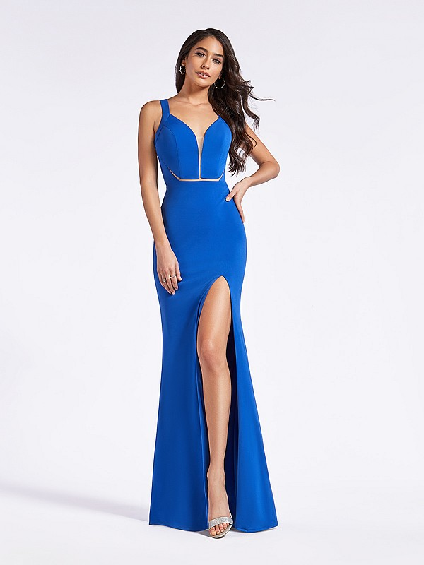 Royal blue fitted floor length sheath dress with plunging sweetheart neck and illusion inset bodice