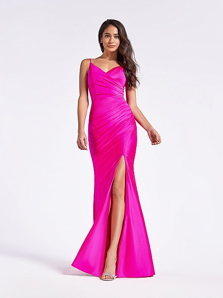 Floor length fitted sheath hot pink formal dress with surplice V-neck and sexy slit