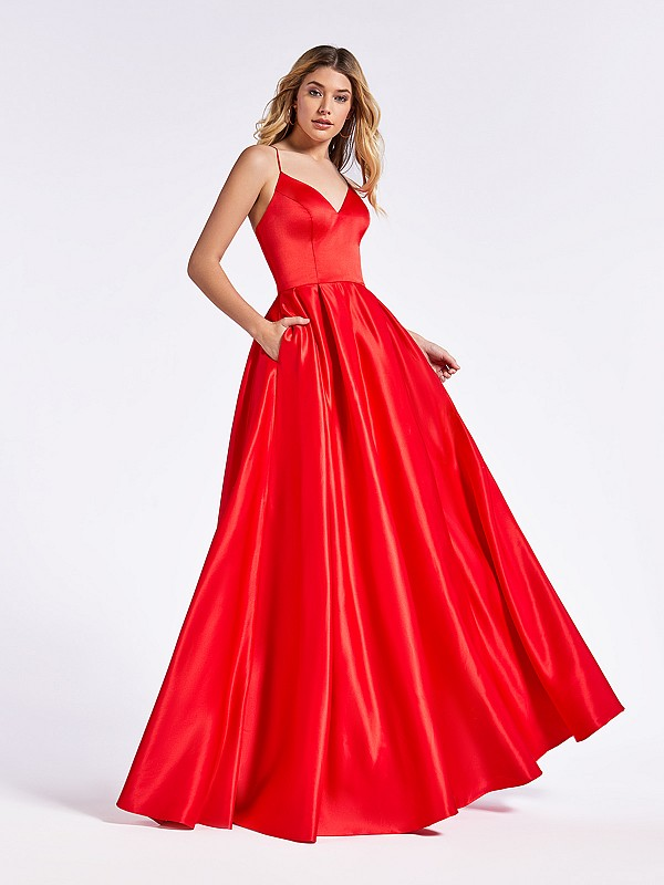 Regal red evening full A-line gown with fitted bodice and sweetheart neckline
