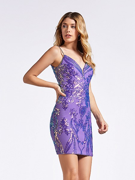 Fitted short sheath purple and lavender cocktail dress with sweetheart neckline and straps