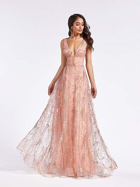 Sparkle tulle dusty pink dress with plunging sweetheart neck with illusion inset and straps