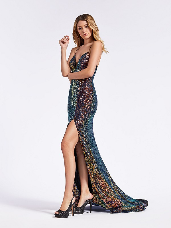 Shimmering sequin floor length multi black mermaid formal gown with thin straps and slit