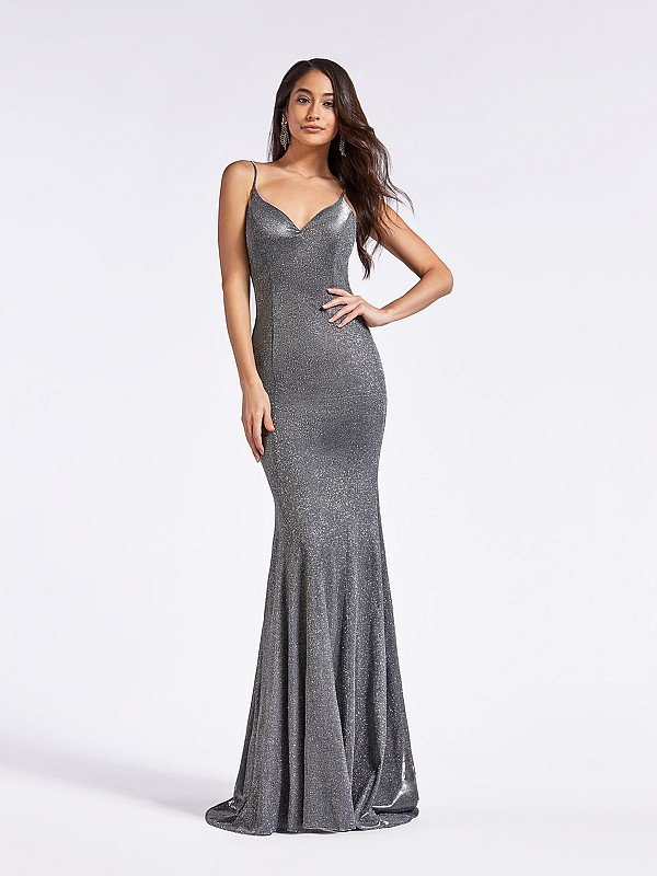 Floor length formal silver mermaid gown with soft sweetheart neckline and thin straps