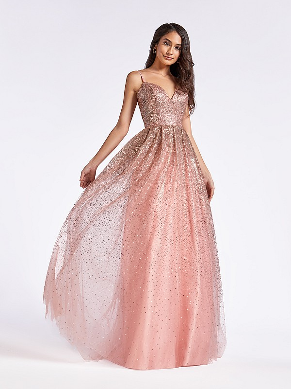 Full A-line gold and dusty pink princess style formal dress with deep sweetheart neckline