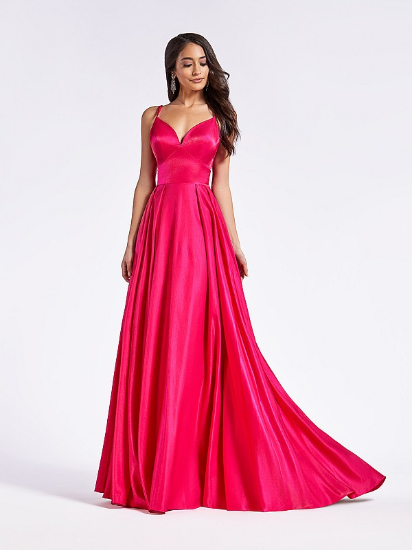 Simple and shiny Mikado floor length fuchsia A-line dress with sweetheart neckline
