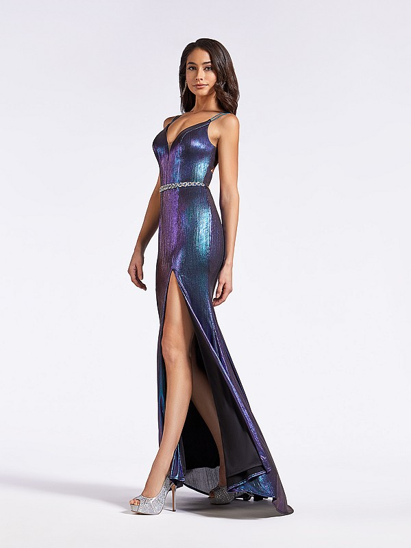 Form fitting metallic peacock formal dress with beaded sash with jewels at waist