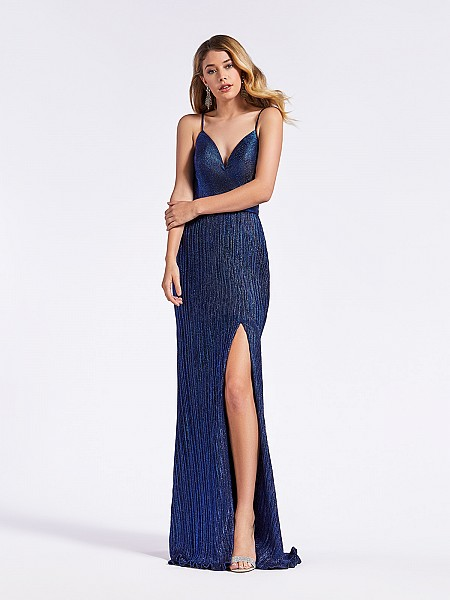 Sexy fitted navy sheath dress with slit, sweetheart neckline, and pleated skirt