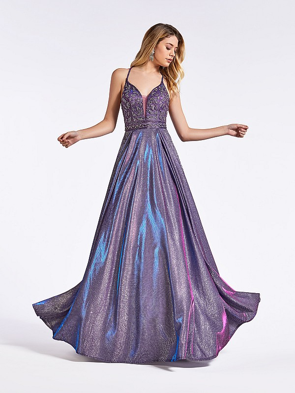Purple floor length metallic prom dress with deep sweetheart neckline and beaded bodice