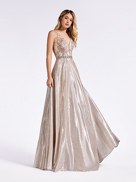 Blush pink floor length a-line prom gown with beaded bodice and sash