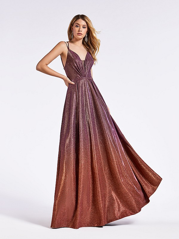 Red and purple ombre floor length a-line gown with band at waist and spaghetti straps