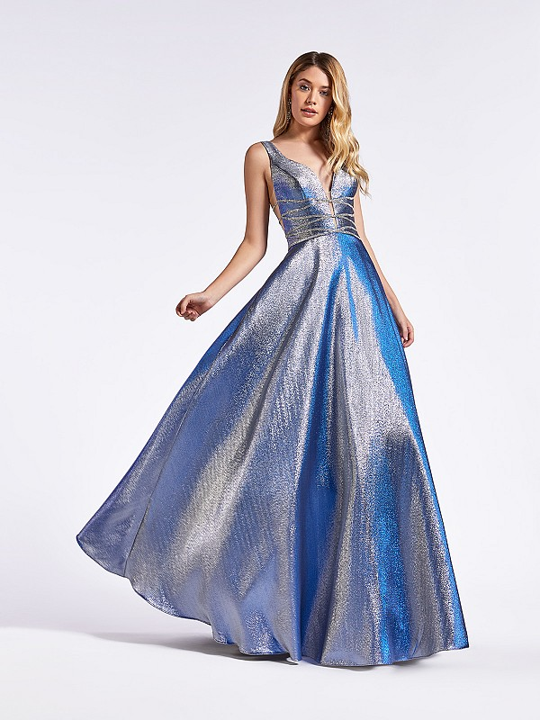 Steel blue iridescent satin long formal dress with beaded details at waist