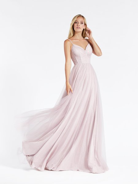 Val Stefani 3904RG sparkly and charming full A-line sweetheart formal gown in pink