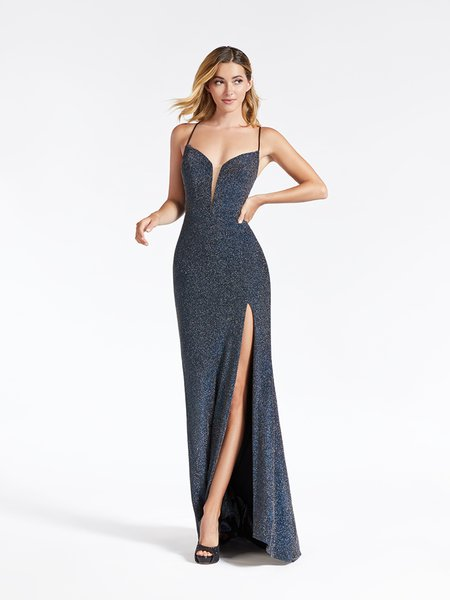 Val Stefani 3905RE sexy yet sophisticated sheath formal gown with high front slit in blue