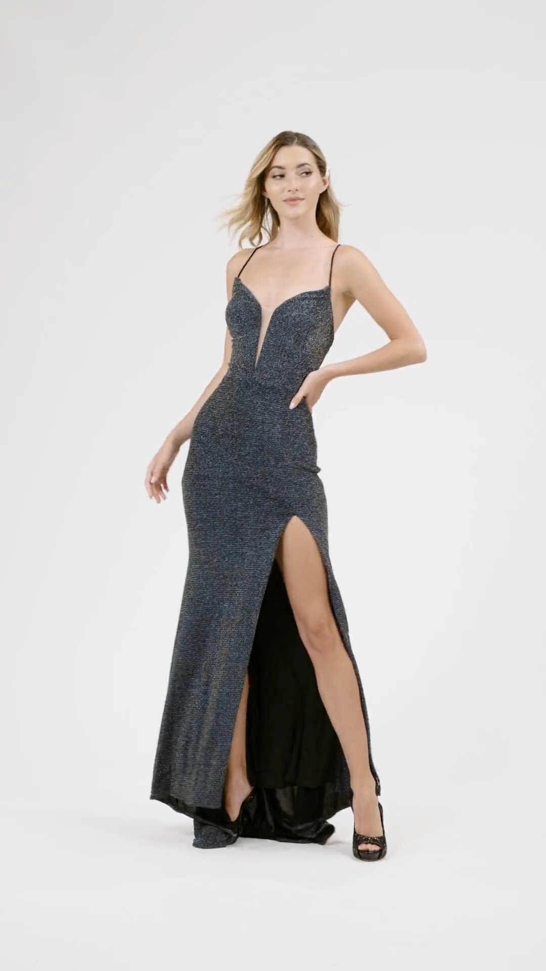 Val Stefani 3905RE soft and stretchy metallic jersey sheath prom dress with plunging neckline and high front slit