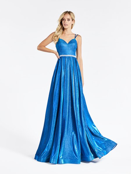 Val Stefani 3906RG sleeveless sweetheart with thin straps A-line prom dress in blue sparkle jersey