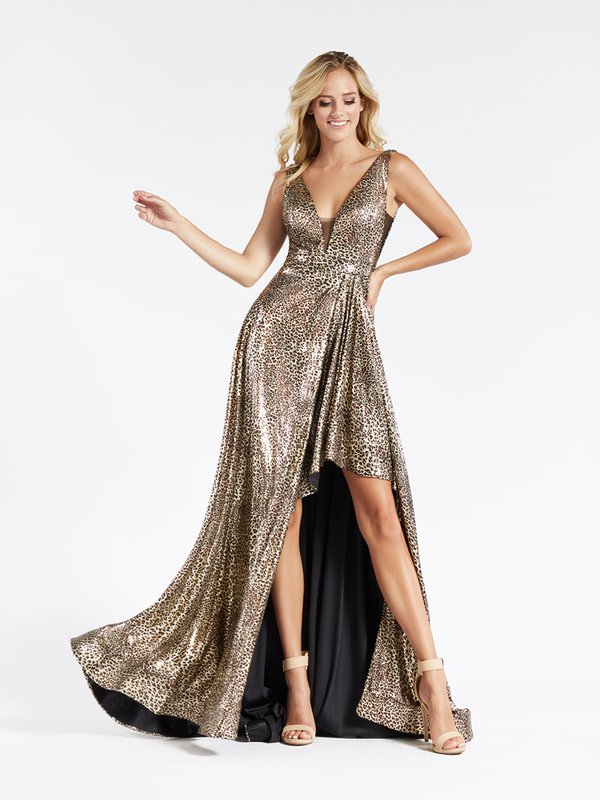 Val Stefani 3909RG fun and trendy asymmetrical A-line in sequin cheetah print fabric