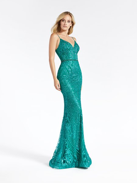 Val Stefani 3912RD emerald glitter print net formal gown with sweetheart neckline and beaded belt