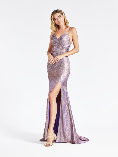 Val Stefani 3914RY purple and gold high front slit sheath metallic jersey formal gown with ruching at front bodice