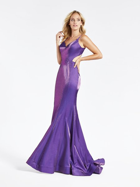Val Stefani 3920RA affordable shiny satin deep sweetheart with thin straps mermaid gown in purple