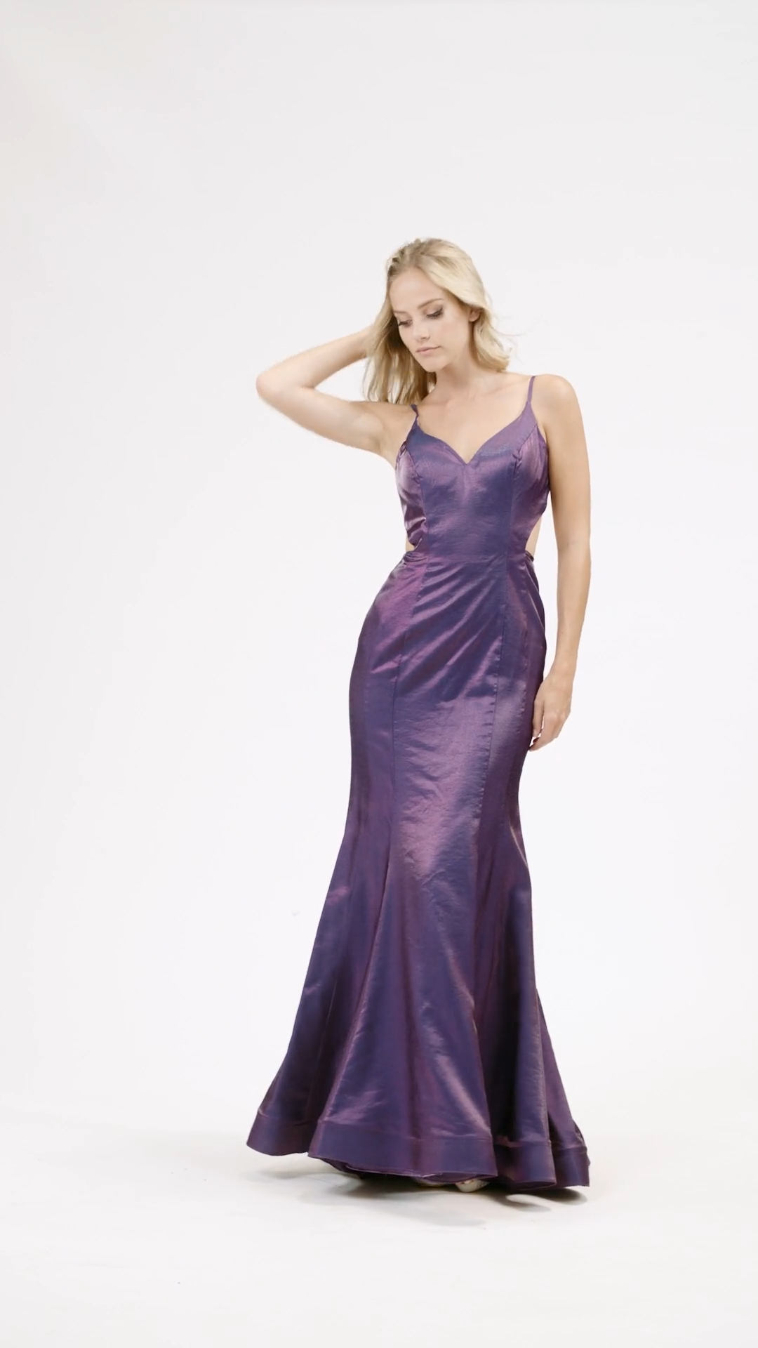 Val Stefani 3920RA curves-hugging shiny satin mermaid gown with sweetheart neckline and strappy open back