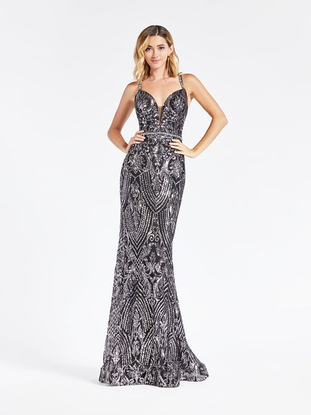 Val Stefani 3921RG silver and black deep sweetheart with illusion inset mermaid in embroidered sequin fabric