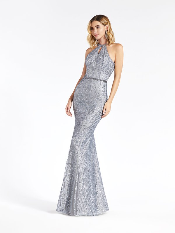 Val Stefani 3923RY charcoal glitter print tulle sheath with halter neckline and beaded belt at natural waist