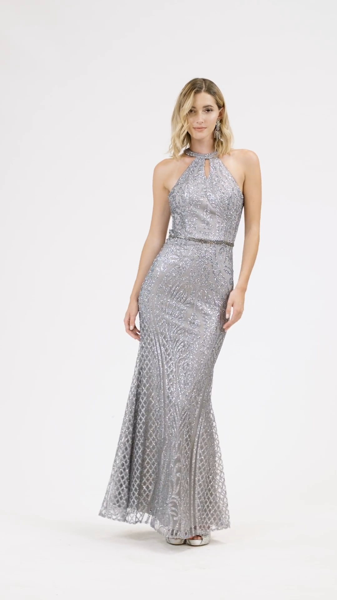 Val Stefani 3923RY figure-hugging glitter print tulle sheath prom dress with sexy halter neck and racerback