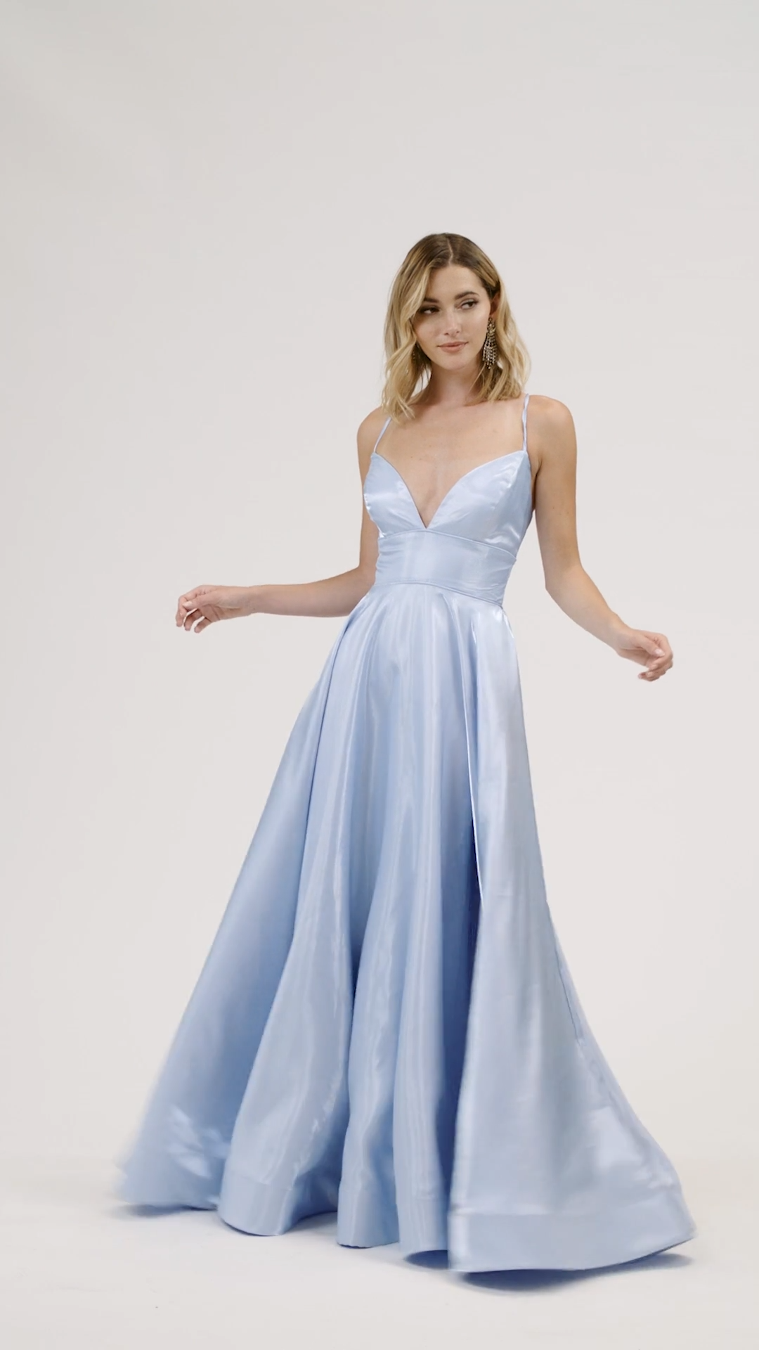 ValStefani 3924RY effortlessly flowing shiny satin full A-line prom dress with sexy front and back necklines
