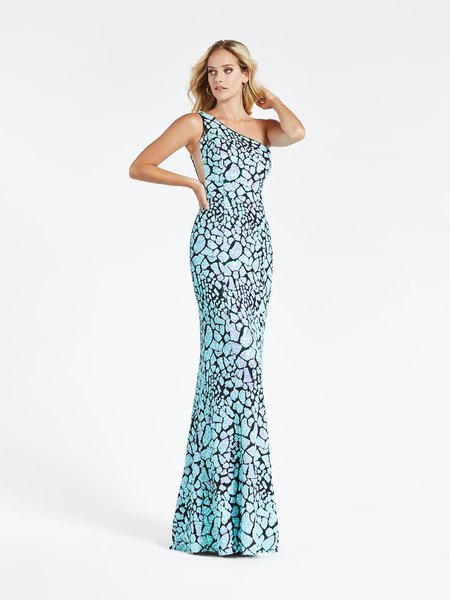 Val Stefani 3928RY aqua and black one shoulder stretch embroidered sequin sheath prom dress
