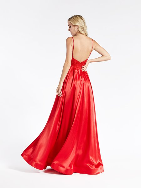 Val Stefani 3929RY chic yet affordable satin A-line with open back with thin staps and horsehair trim hem