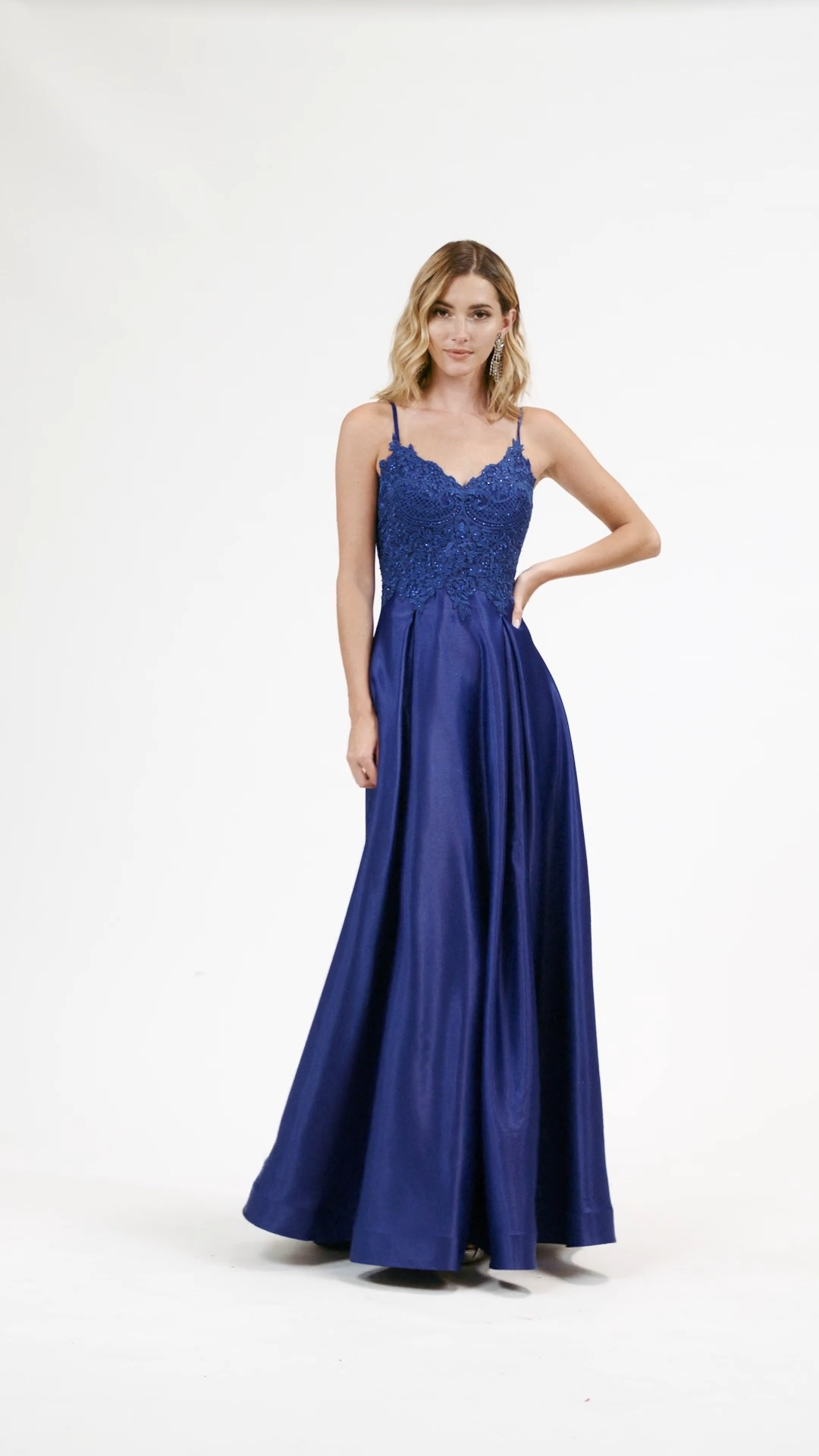 Val Stefani 3929RY fun and light weight satin and lace appliques A-line floor length formal gown