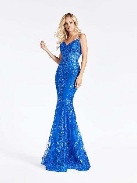 Val Stefani 3930RY unlined glitter sequin print tulle mermaid with front V-neck in royal blue