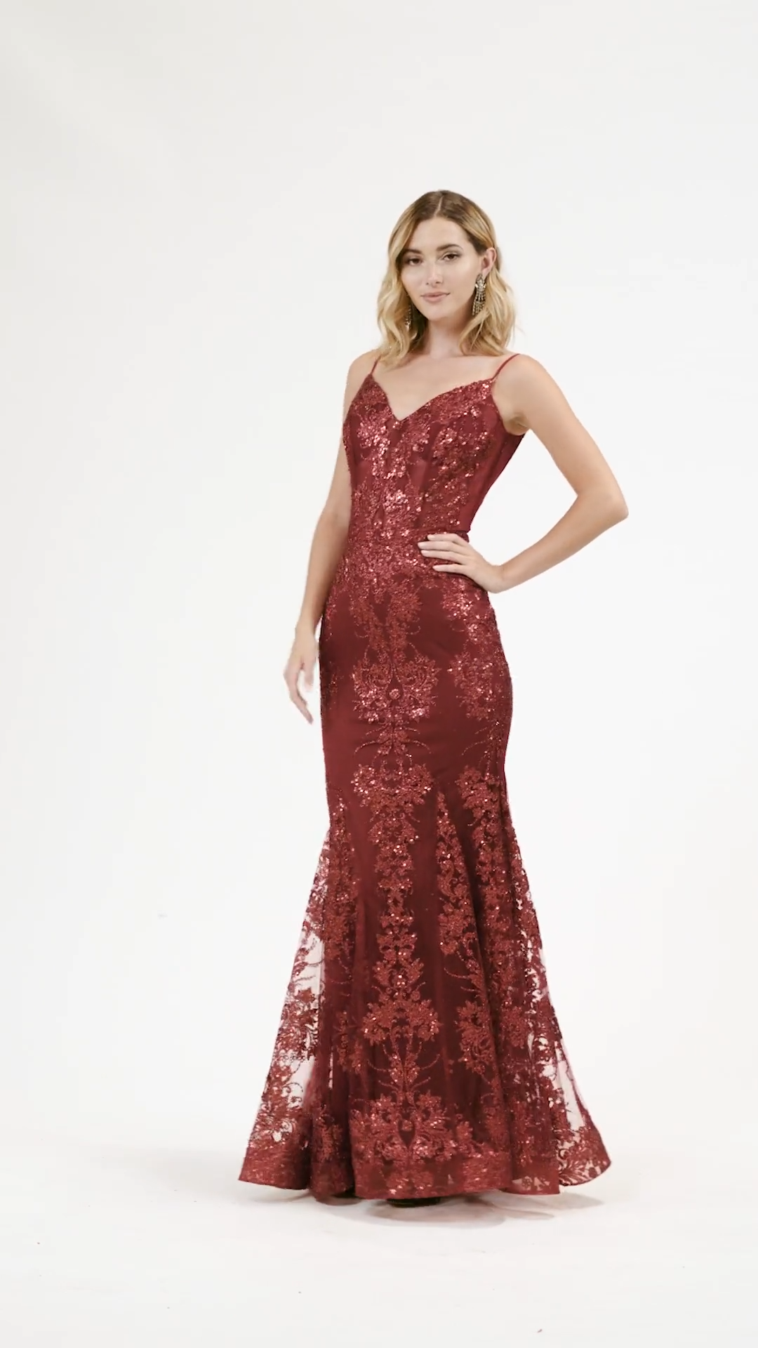 Val Stefani 3930RY fun and flirty glitter sequin print tulle unlined mermaid with V-necklines and spaghetti straps