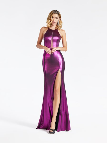 Val Stefani 3931RA metallic jersey mermaid prom gown with halter neck with illusion inset in stunning purple